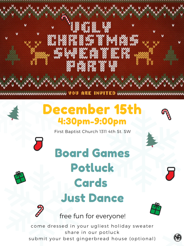 Chinook Activities Presents - Ugly Sweater and Gingerbread House Contest @ First Baptist Chursh | Calgary | Alberta | Canada