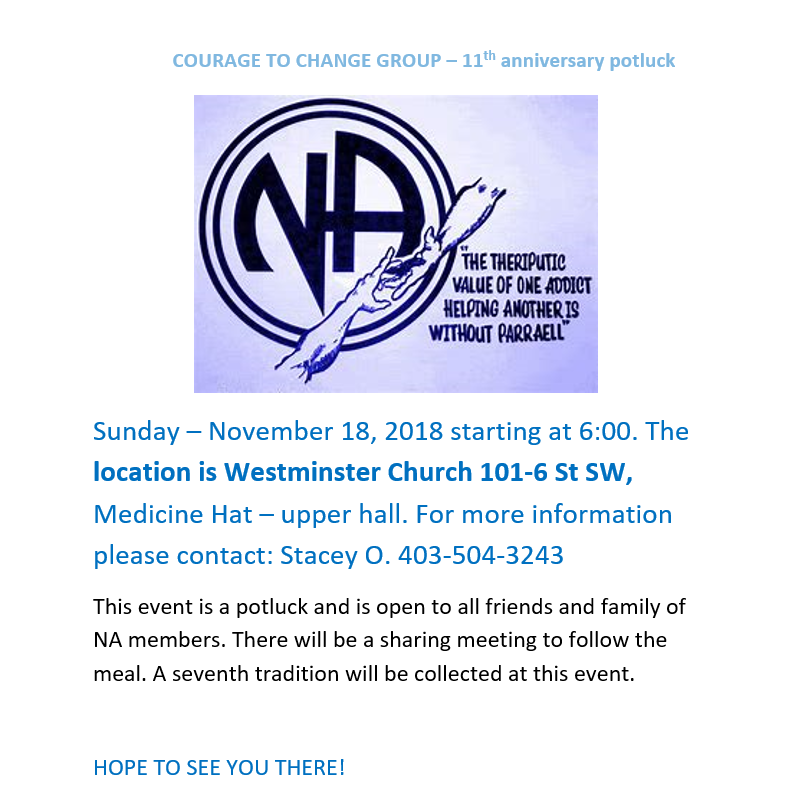 Courage To Change Group – 11th Anniversary PotLuck @ Westminster Church | Medicine Hat | Alberta | Canada